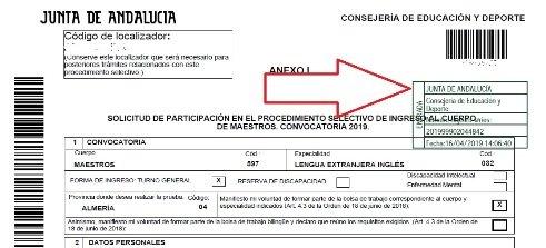 Intancia oposiciones andalucía 2019 maestros rellenada y registrada
