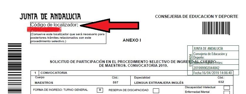 Localizador oposiciones andalucia maestros 2019