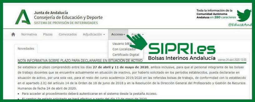 Cómo acceder a SIPRI Andalucía
