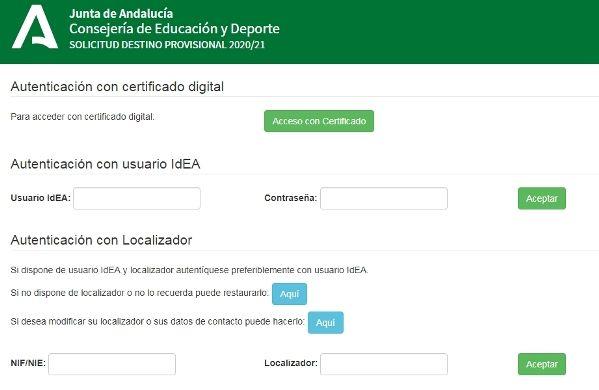 Métodos de acceso a la Colocación de Efectivos Andalucía