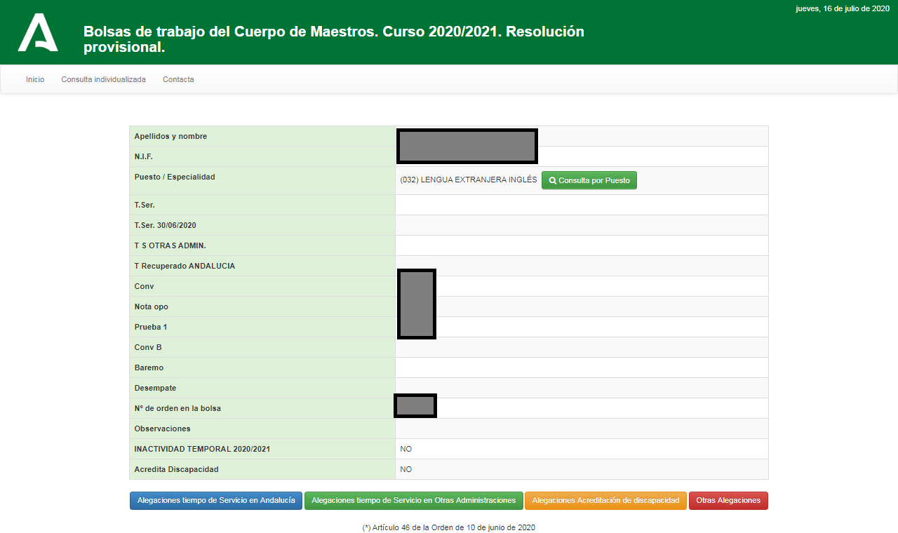 Pantallazo de la Consulta de las Bolsas Interinos Maestros Andalucía