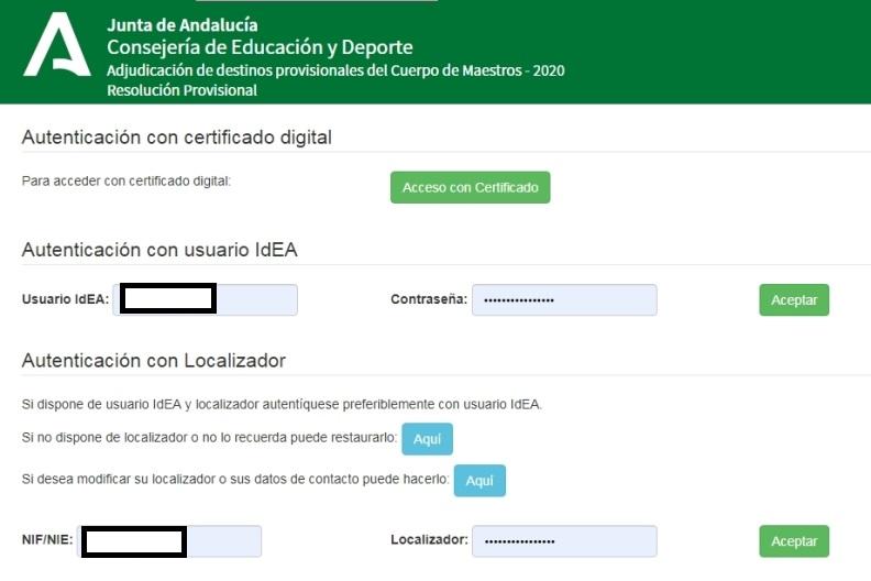 Pantalla de acceso a los destinos provisionales del cuerpo de maestros Andalucía 2020