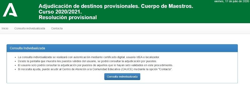 Pantalla de inicio de la adjudicación provisional de destinos en colocación de efectivos 2020