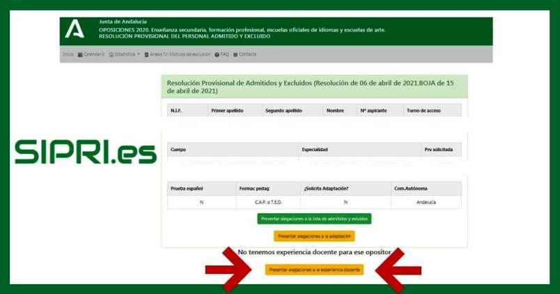 Presentar alegaciones al listado provisional de admitidos y al tiempo de servicio en las oposiciones secundaria Andalucía 2021