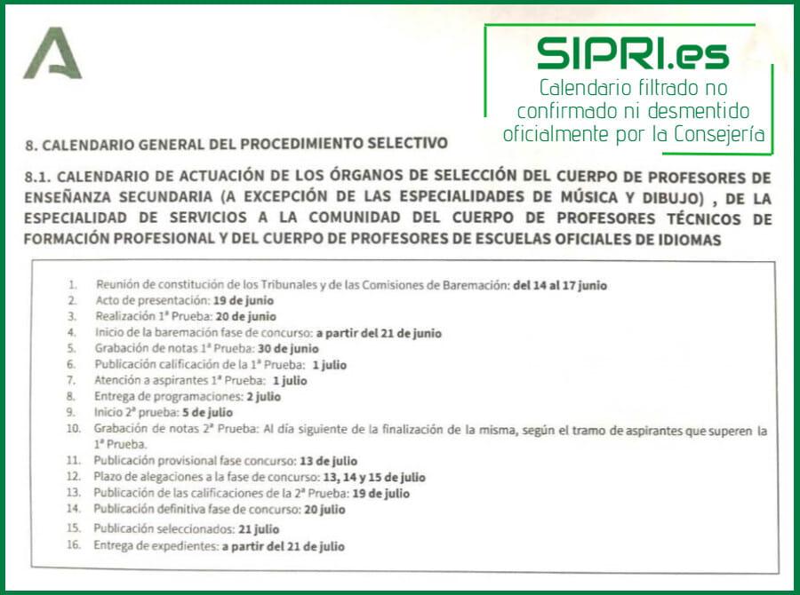 Calendario de fechas de las oposiciones de secundaria Andalucía 2021
