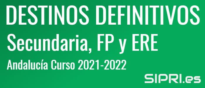Colocación de Efectivos 2021: Destinos definitivos para Secundaria, PTFP y ERE en Andalucía